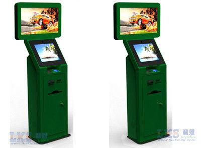 Ticket Dispenser Dual Screen Kiosk With Barcode Scanner Self Service Terminal