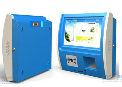 Blue Color LED Display Wall Mounted Kiosk Coin Acceptor With Thermal Printer