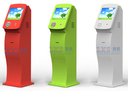 Multi Functional Card Dispenser Kiosk , Prepaid Card Kiosk White / Red Color