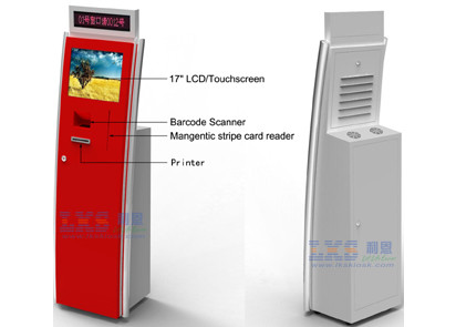 Security Checkin Free Standing Kiosk , Card Swipping / Barcode Scanning